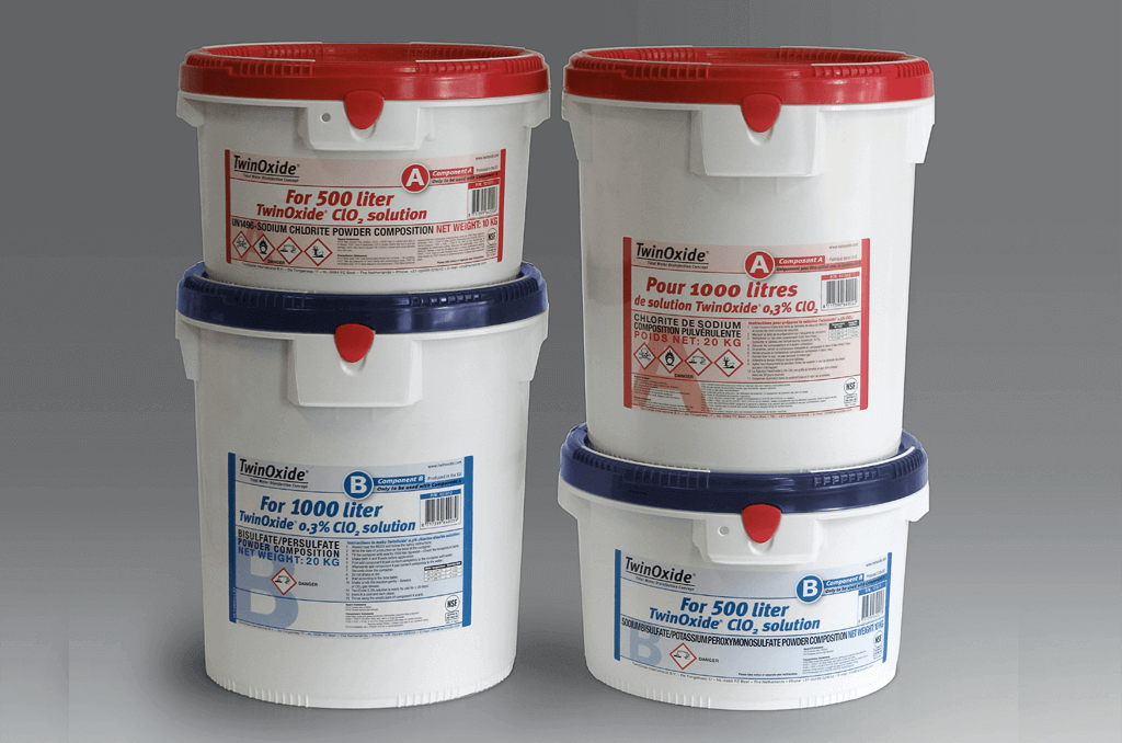 Various TwinOxide package sizes for 0.3% chlorine dioxide solution